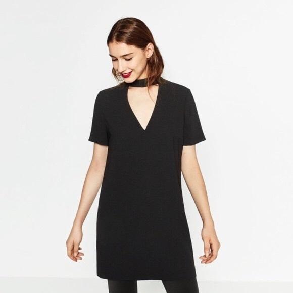 ec83eda8e581 Zara Dresses | Woman Sz S Black V Neck Choker Shift Dress | Poshmark